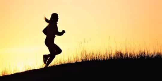 бежит утром в поле