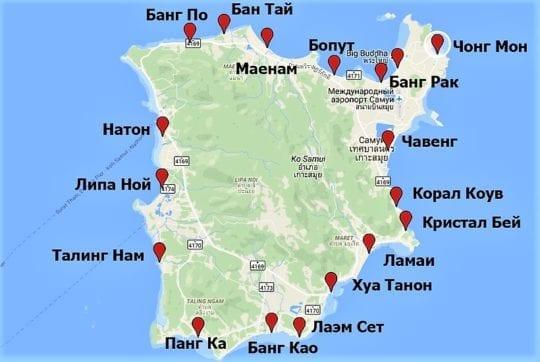 карта пляжей Самуи